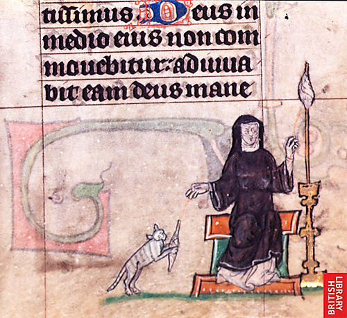 Woman with spindle and cat c 1310
