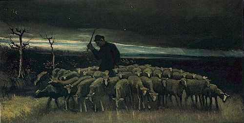 Shepherd with a Flock of Sheep-vanGogh 1884 lg