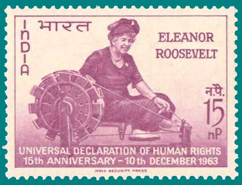 Eleanor_Roosevelt Charkha stamp 1963 India