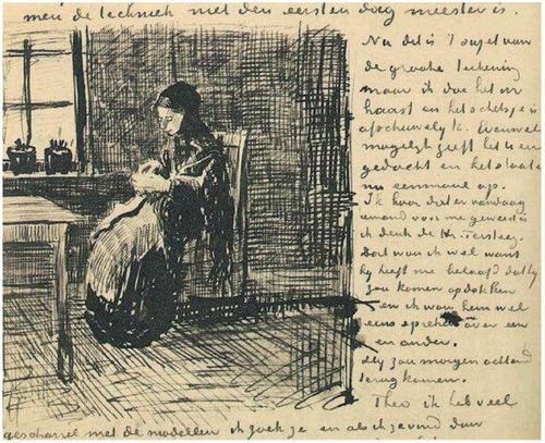VanGogh Woman at the Window, Knitting 1882