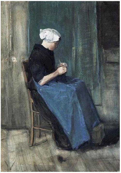 VanGogh Scheveningen Woman Knitting 1881 large