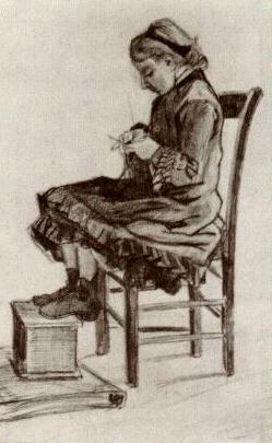 VanGogh Girl Sitting, Knitting March1882