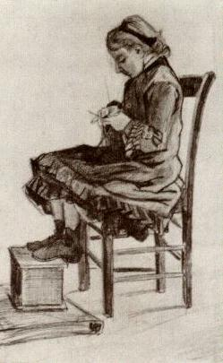 VanGogh Girl Sitting, Knitting March1882