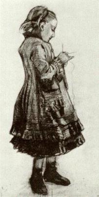 VanGogh Girl Standing Knitting 1882