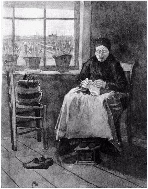 VanGogh Woman-at-the-Window,-Knitting 1882