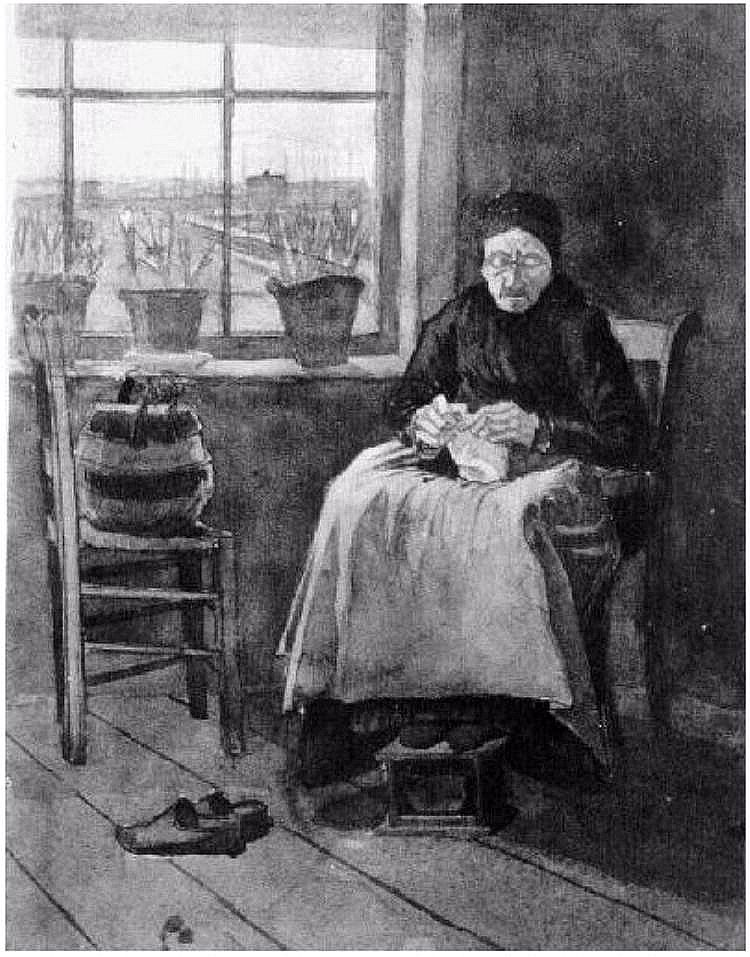 VanGogh Woman-at-the-Window,-Knitting 1882
