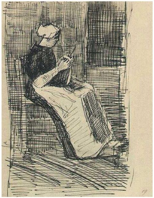 VanGogh Scheveningen Woman Knitting 1881 sketch