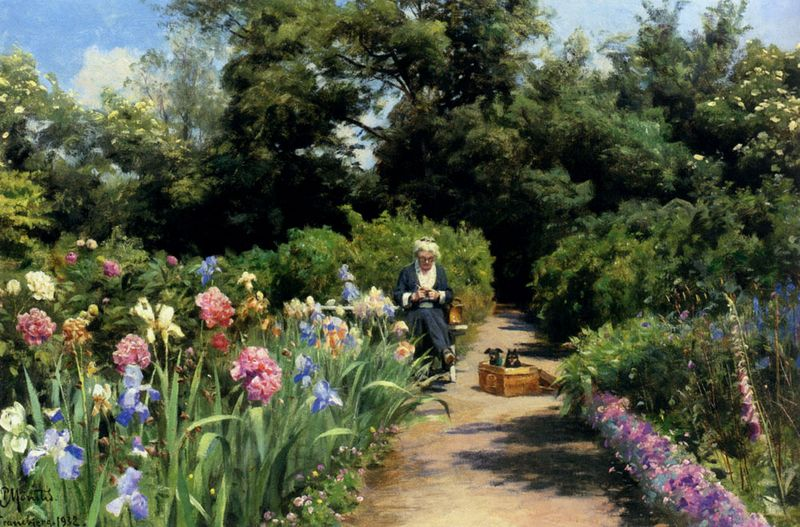 Peder Mork Monsted - Knitting_In_The_Garden 1932